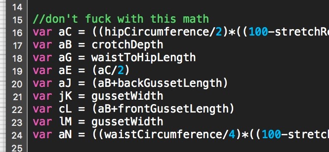 code comment reading 'do not fuck with this math'